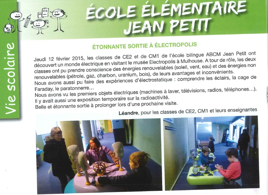 Article bulletin municipal ecole elementaire mars 2015