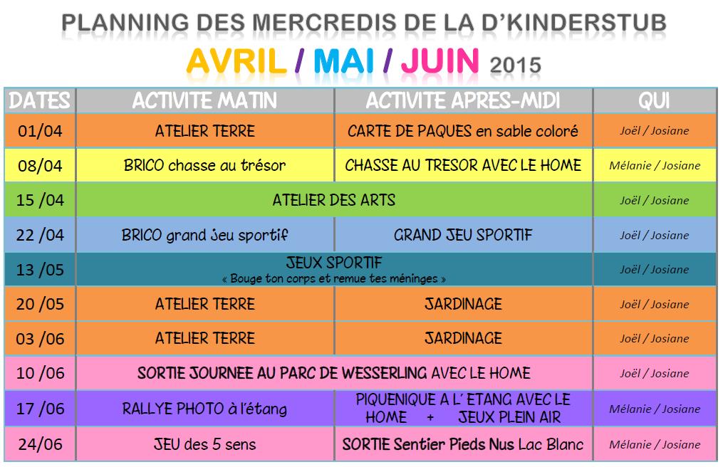Programme Mercredis avril mai juin 2015 dks